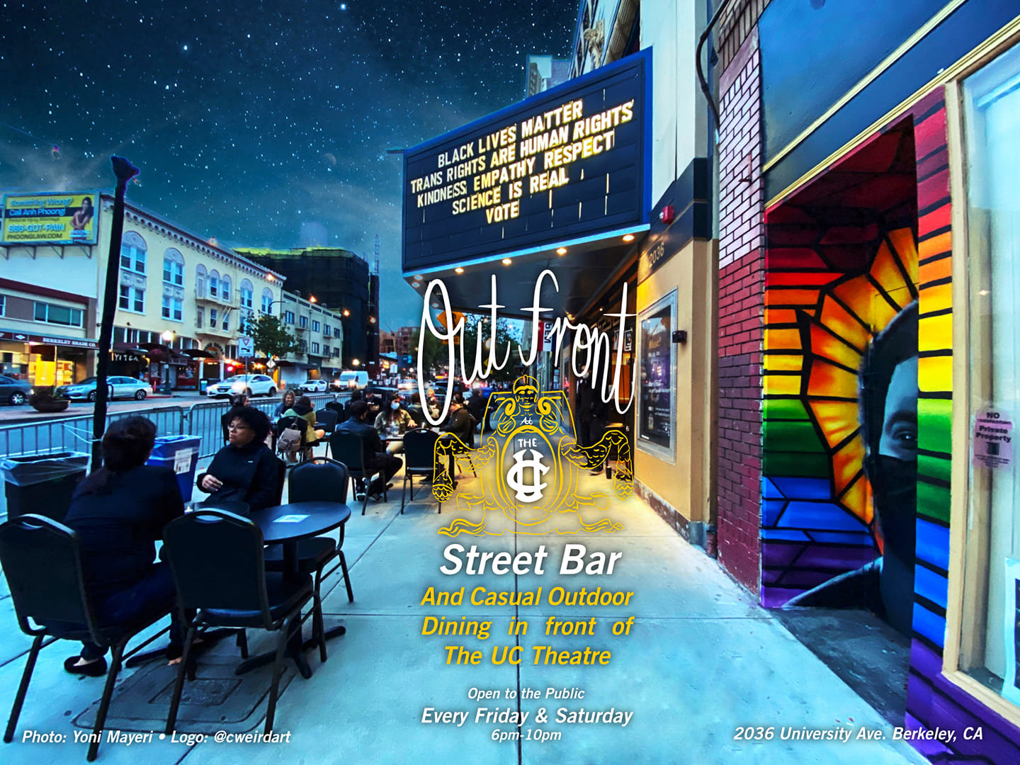 Out Front Street Bar at The UC Theatre Flyer for out front street bar at the uc theatre