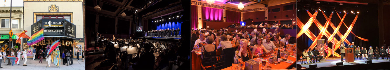 Image collage of private events at UC Theatre
